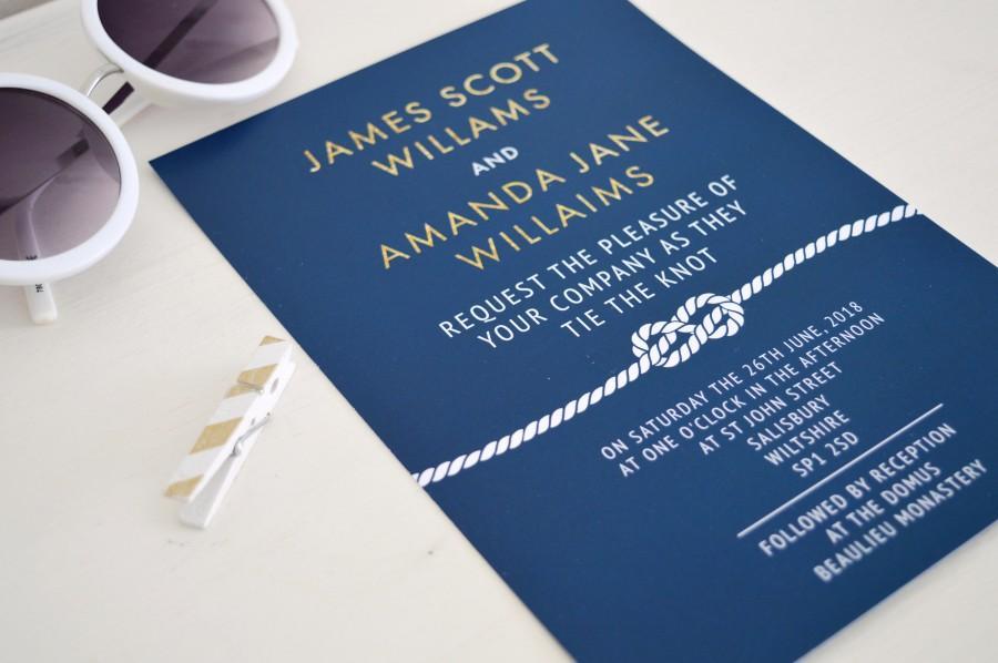 Свадьба - Nautical wedding invitation suite, navy and gold wedding invitation beach, blue wedding invitations UK, navy wedding invitation navy, A5