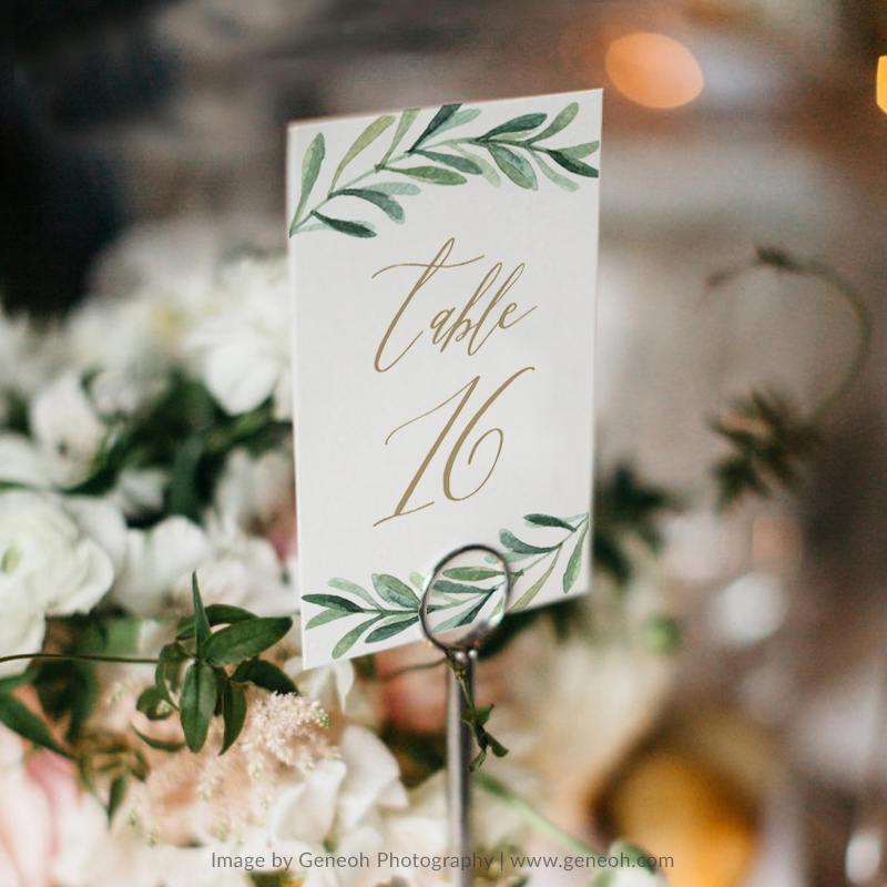 زفاف - Greenery Table Number Template • Printable Wedding Table Number • Vintage Bird Wedding • Botanical Wedding • Word or Pages • MAC or PC