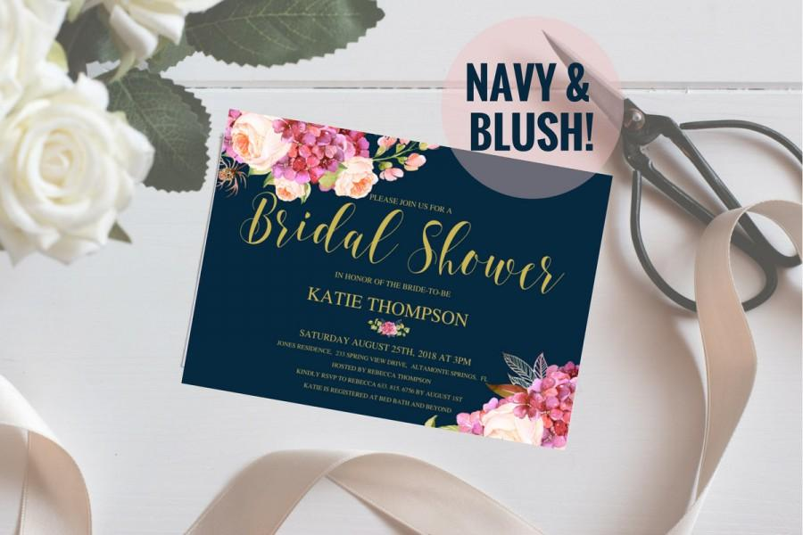 Hochzeit - Bridal Shower Invitation, Floral Wedding Shower, Navy And Blush, Wedding Peonies, Boho Bridal Shower Invites, 5x7,  PDF, SKU# IDWS502_3513C