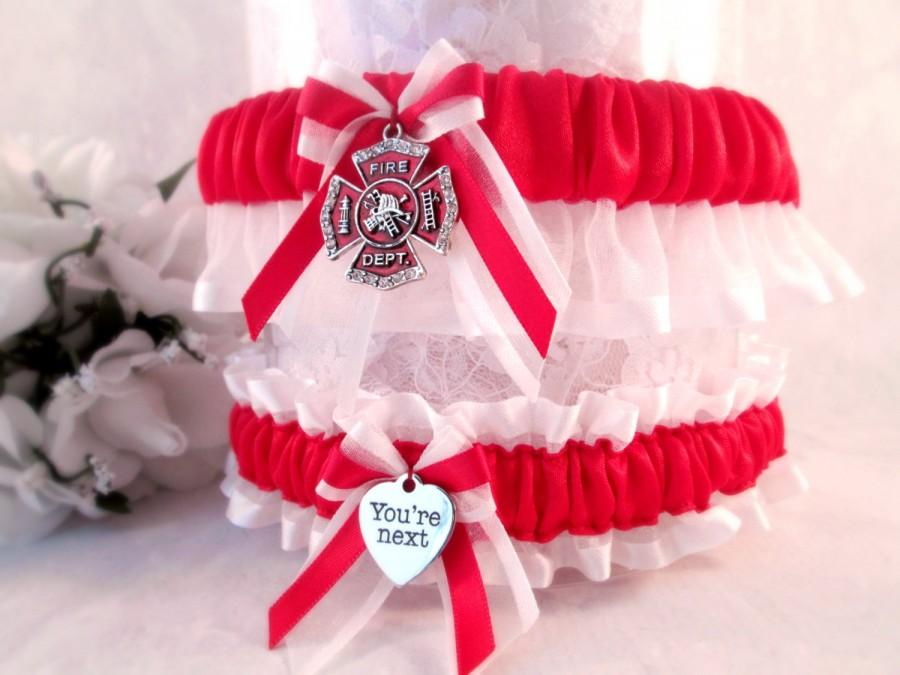 Свадьба - Handcrafted Firefighter Garter set - Fireman Wedding Garters - Maltese Cross Garter Set - Firefighter Wedding Garters.