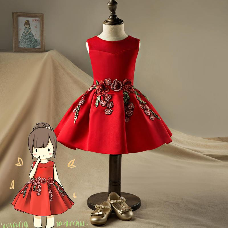 cf9c259466ca Red Embroidery Flower Girl Dresses Birthday Wedding Holiday Kids Prom  Dresses Graduation Dress for Girls