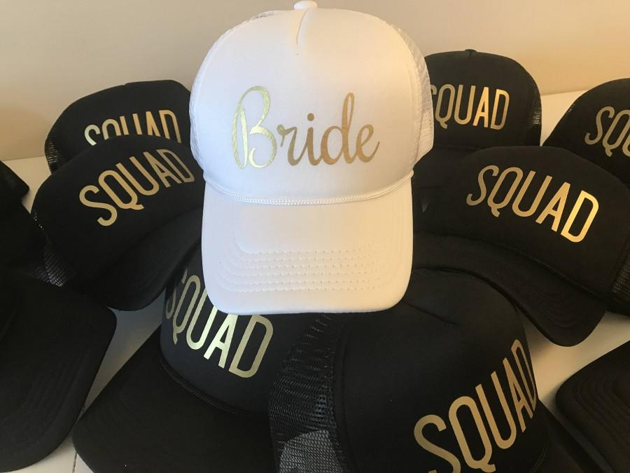 Hochzeit - FAST SHIPPING - Bride Squad Hats / Bride Tribe Hats / Bachelorette Party / Bridal Party / Bride to Be / Bridemaids / Bridemaids Gifts