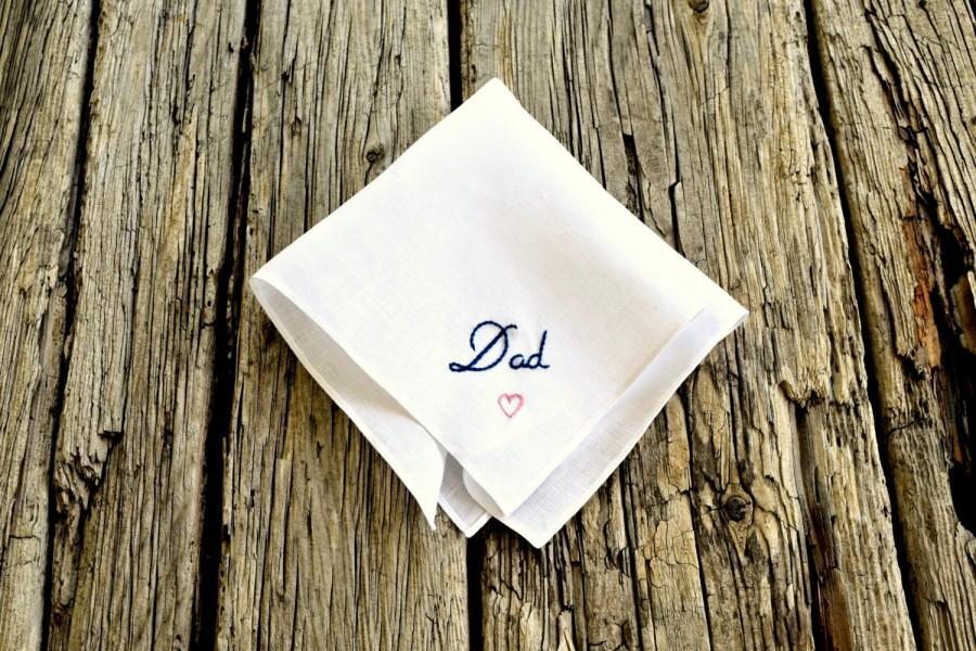 Hochzeit - Dad Handkerchief, Wedding Hankerchief for Father, Dad Hand Embroidered Hankie, Wedding Pocket Square for Daddy, Father's Day Pocket Square