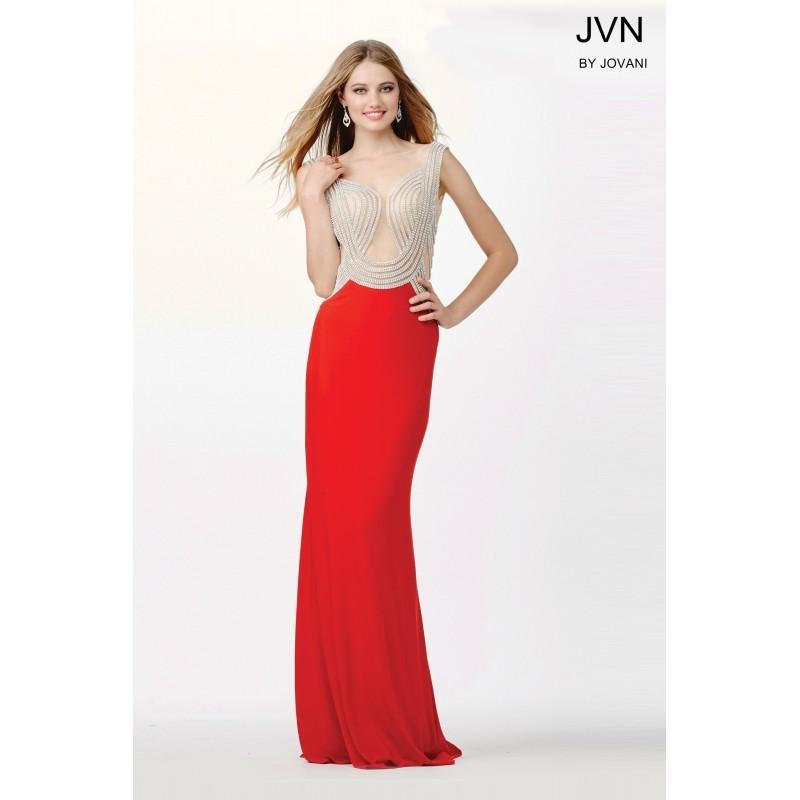 Nozze - Jovani Embellished Red Fitted Dress JVN33626 -  Designer Wedding Dresses