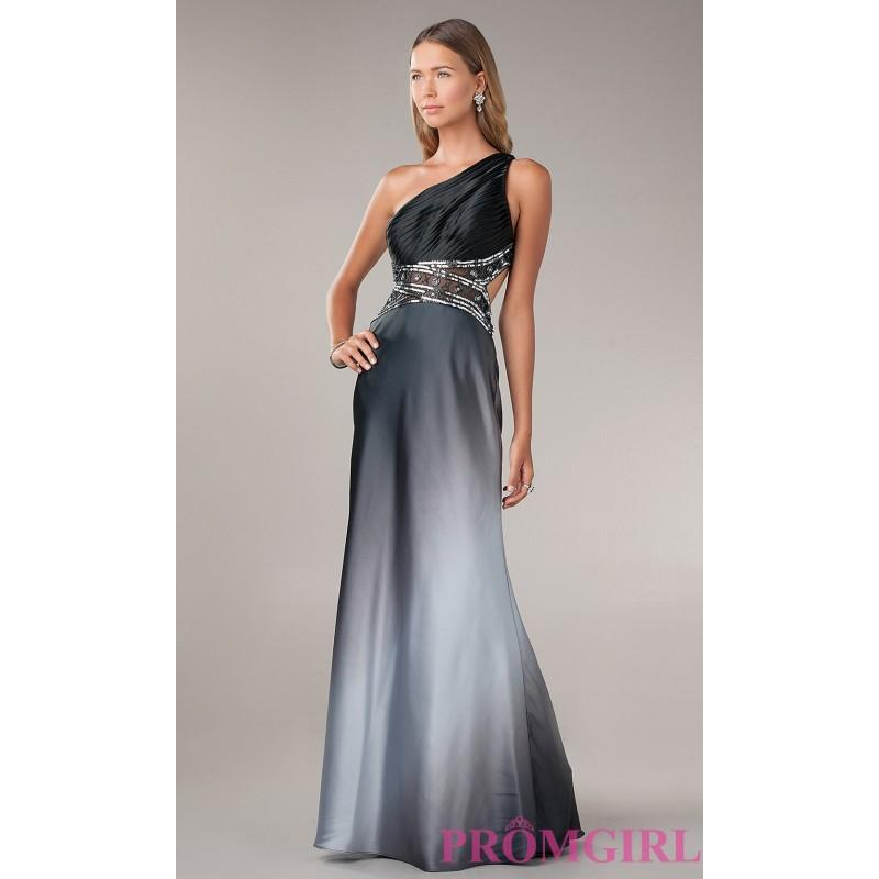 One Shoulder Ombre Evening Gown By Betsy And Adam - Brand Prom ...
