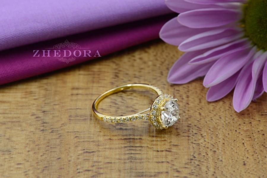 Свадьба - 2.55 CT Engagement Ring Round Cut Halo Solid 14k Yellow Gold Bridal band
