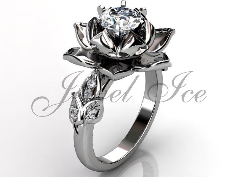 Lotus Flower Engagement Ring 14k White Gold Diamond Unusual Unique