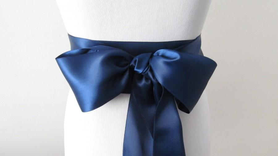 Mariage - Navy Ribbon Sash / Double Faced Ribbon Sash / Bridal Sash / Bridal  / Navy