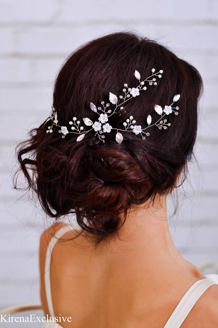 Hochzeit - Wedding headpiece Bridal headband Wedding hair flower Bridal flower hairpiece Floral hair vine Wedding hair band Flower headband crystal