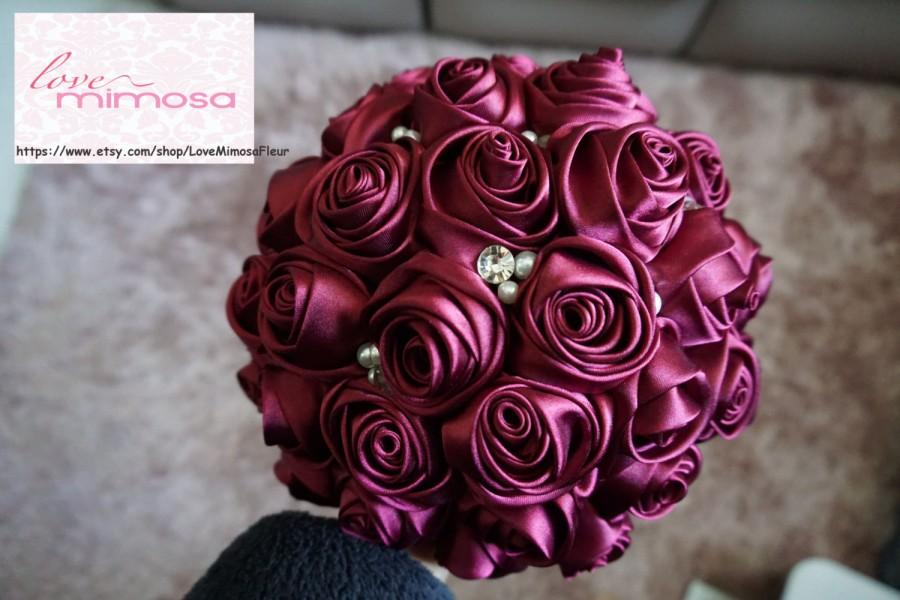 Hochzeit - Satin Rose Bouquet- Burgundy / Deep Red Flower accented with rhinestone (Medium, 7 inch)