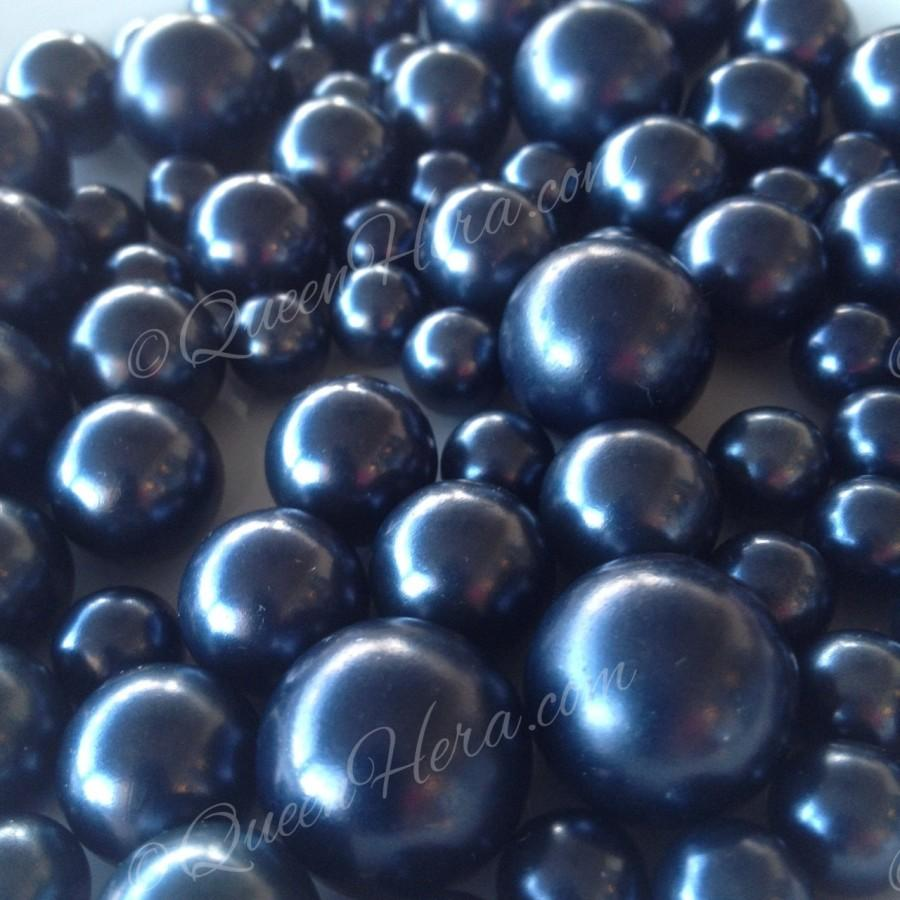 Wedding - Navy Blue Pearls Decorative Jumbo Pearls (no hole pearls) - Floating Pearls Centerpieces, Table Decors, Scatters