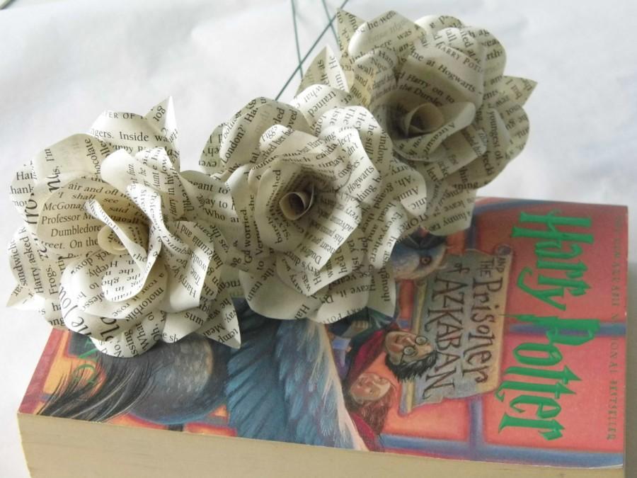 Свадьба - 3 x Harry Potter Paper Roses, Book Page Paper Flower Roses, 3 Handmade Paper Flowers, Handmade Roses
