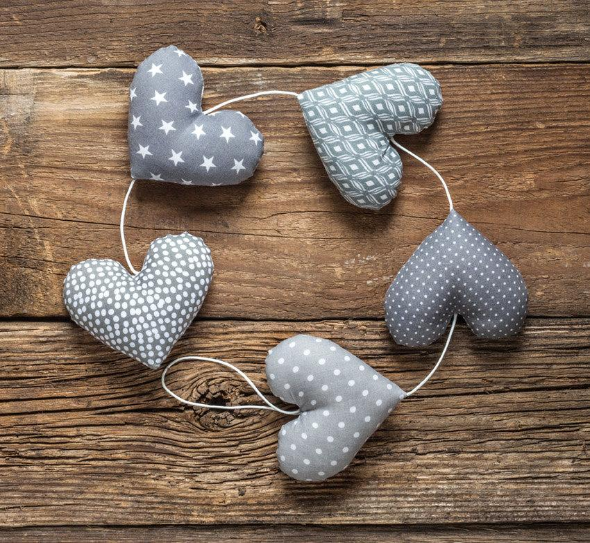 Wedding - Heart garland, 5 grey hearts. Wedding garland.