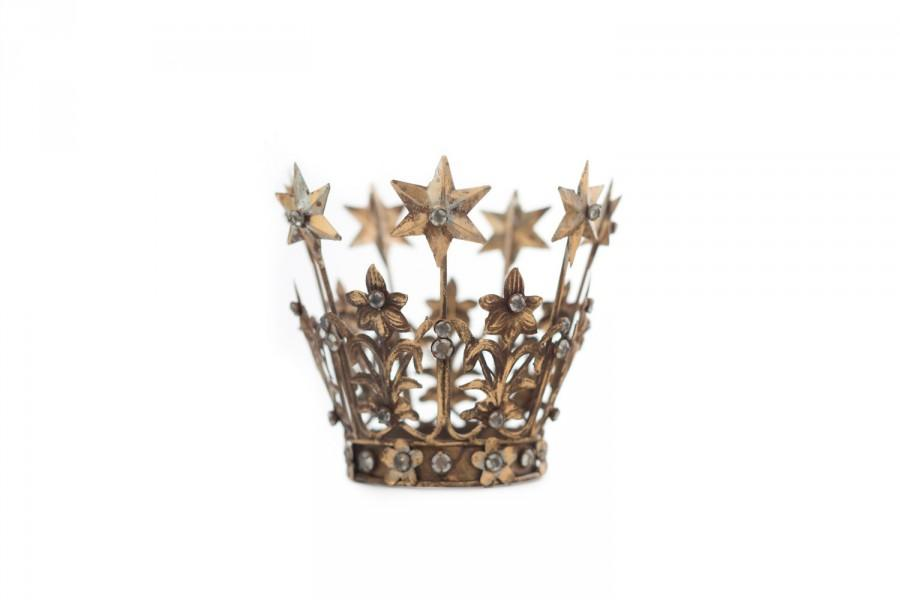 Mariage - Crown Cake Topper, Santos Crown, Gold Crown, Star Crown, Wedding Cake Topper, Crown Photo Prop
