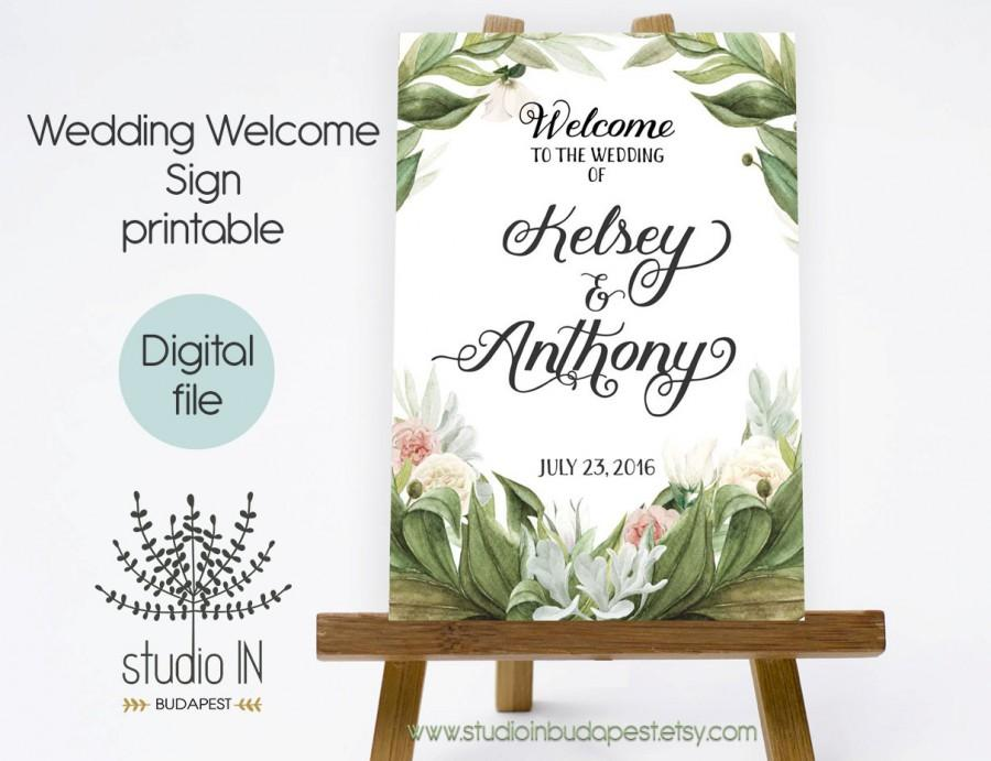 Hochzeit - PRINTABLE Large Wedding Welcome Sign, Large Welcome Sign, Rustic green Wedding Sign, Reception Sign, Green wedding, PRINTABLE