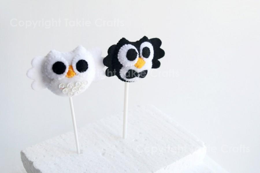 Hochzeit - Felt Owl Couple Wedding Cake Topper/Owl cupcake topper/felt owl ornaments