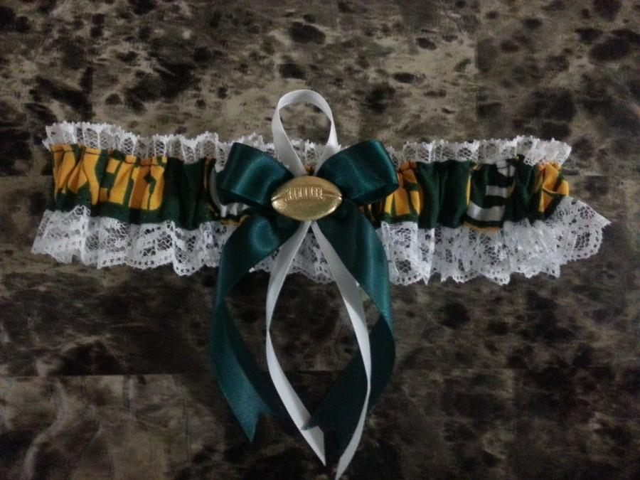 Свадьба - Green Bay Packers white lace Wedding Garter set any size color or style