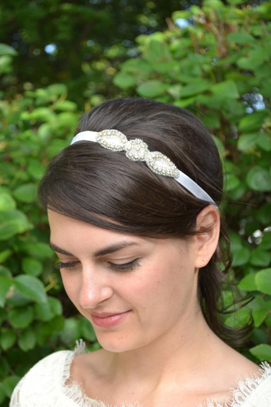 Свадьба - Rhinestone flower girl headband, tiny diamante bridal headband, sparkly flower wedding headband, crystal girls hairband
