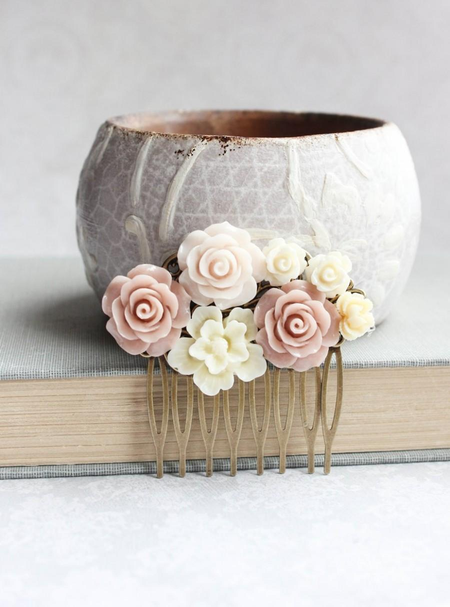 Mariage - Blush Rose Hair Comb Floral Collage Romantic Bridal Shabby Country Bridesmaid Gift Summer Wedding Natural Color Nude Tones Vintage Style