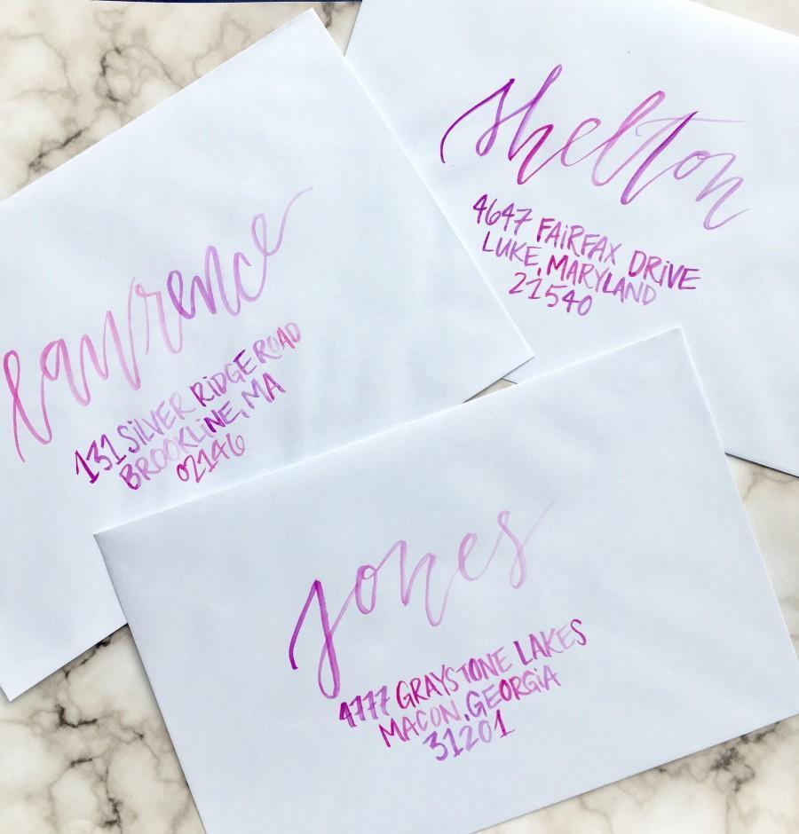 زفاف - Ombre Watercolor Calligraphy/Wedding Calligraphy/Handwritten Envelope Addressing/Calligrapher/Brush Lettering/Wedding Calligraphy Services