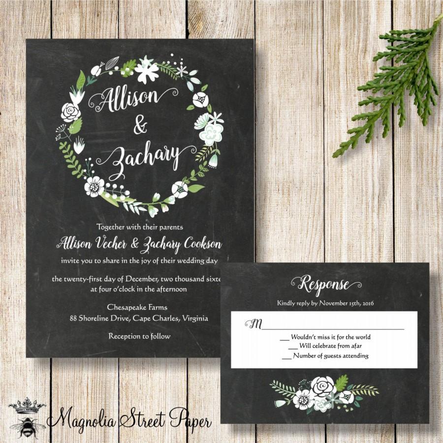 زفاف - Wreath Wedding Invitation, Chalkboard and White Wreath Wedding Invite, Black and White Wedding Suite, White Flowers and Chalkboard Invite