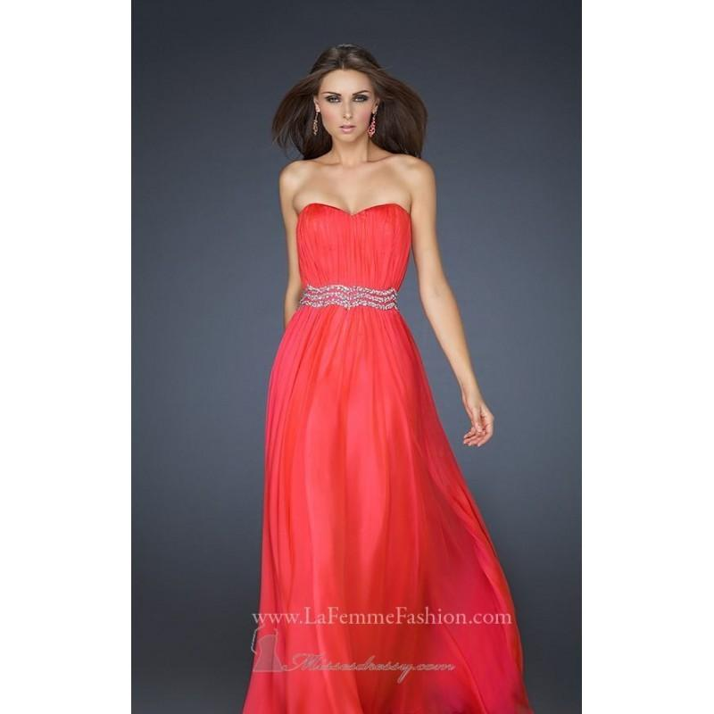 Wedding - Watermelon Strpless chiffon evening gown by La Femme - Color Your Classy Wardrobe