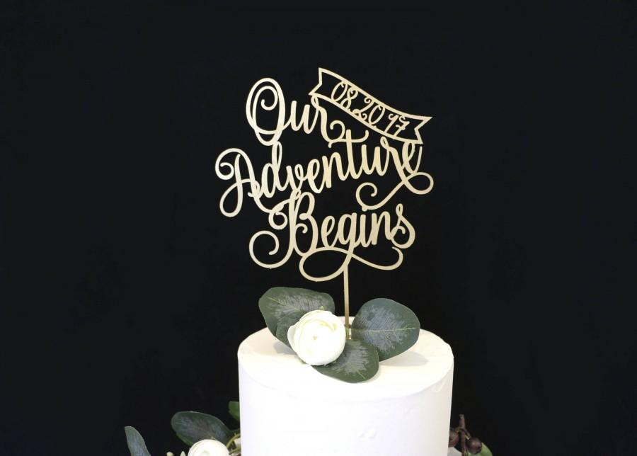 Mariage - Our Adventure Begins Cake Topper