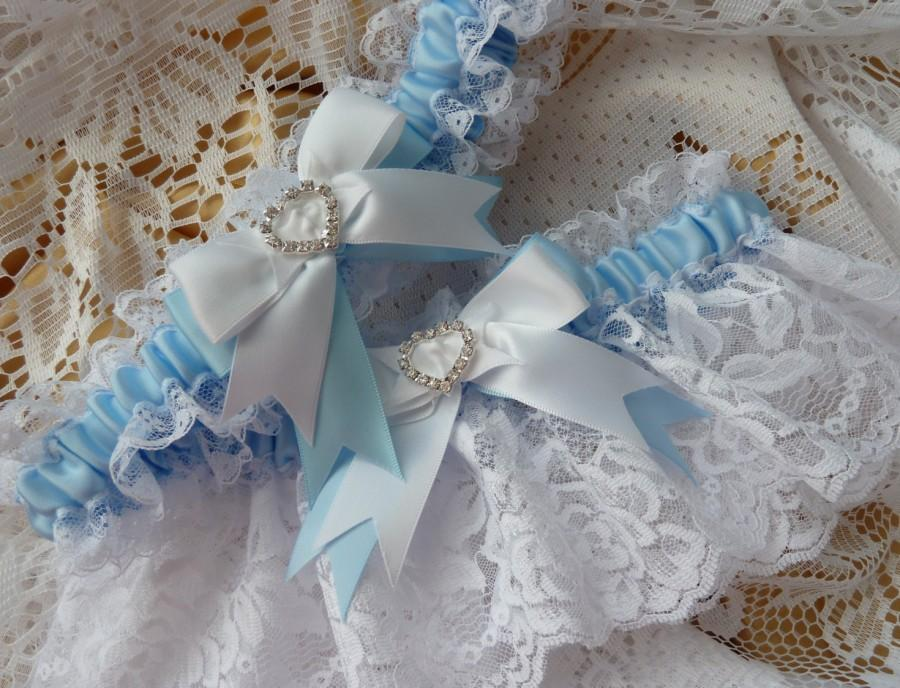 Свадьба - WEDDING GARTER SET white and blue bride French garter satin lace heart diamante