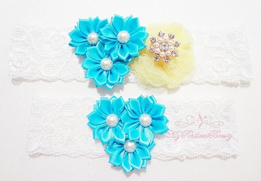 Свадьба - Bridal Garter, Wedding Garter, Sexy Garter, Turquoise Flower Garter, Bridal Flower Garter, Handmade Custom Garter, Beaded Garter GTF0002TUR