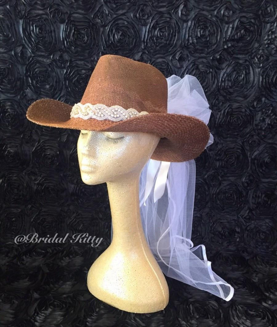 30117a4e8a7 Cowboy Hat Veil Country Bachelorette Party Western Wedding Cowgirl Crystal  Headband Tiara Crown Bridal Shower White Bride To Be Hen Party