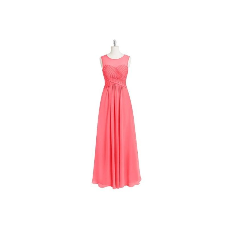 Wedding - Watermelon Azazie Gigi - Floor Length Chiffon Illusion Scoop Dress - Charming Bridesmaids Store
