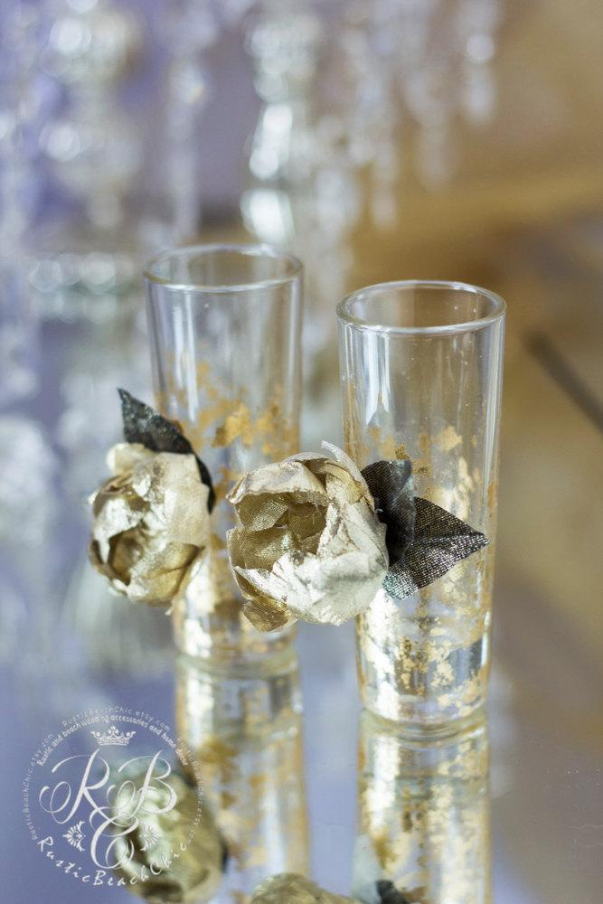 fall wedding crystal and gold wedding shot glasses collection gold rose bride and groom flutes wedding supplies 2pcs
