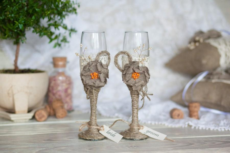 Mariage - Rustic toasting flutes with rope, lace, burlap flower, orange beads (color customizable)
