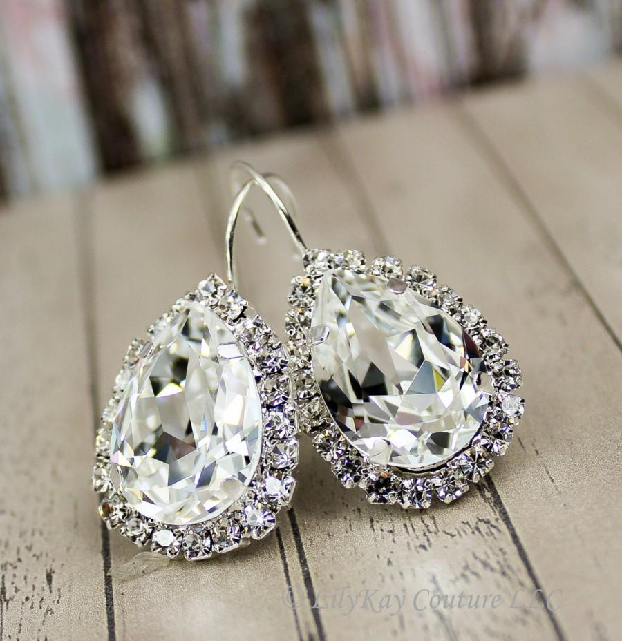 Свадьба - Crystal Earrings Bridal Earrings Teardrop Bridal Earring Crystal Wedding Bridal Jewelry Set Bridesmaid Jewelry Set Diamante Diamond Earrings