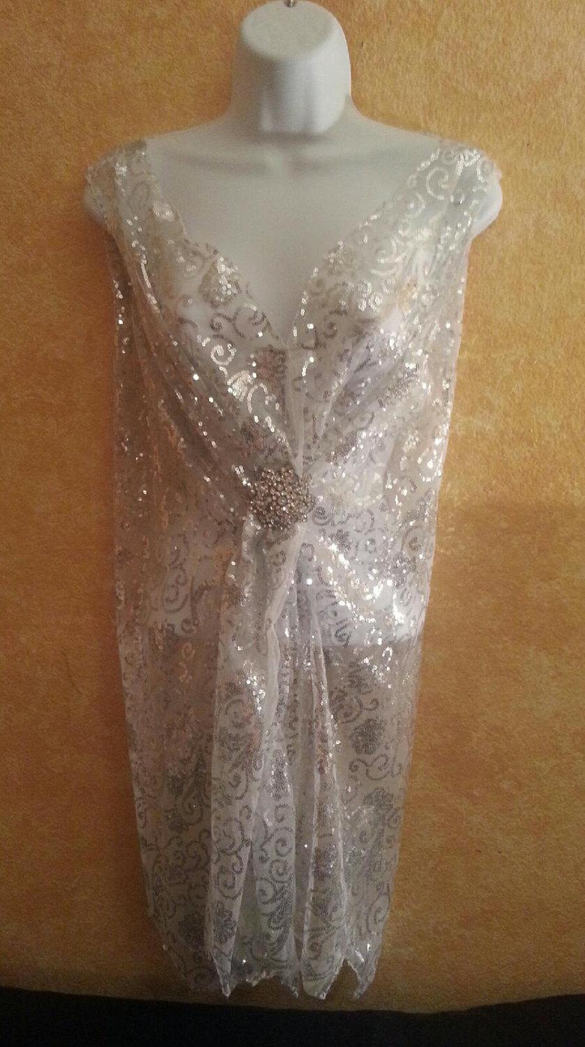 Wedding - Gatsby 20's Vintage Style White Silver Crystal Sequin Embroiderd Lace Sheath Mini Tunic Dress Ballroom Dance Costume Theatrical Club Party