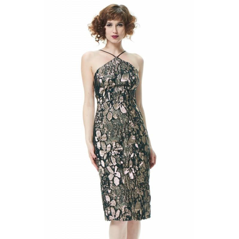 Mariage - Teal/Rose Gold Jacquard Woven Metallic Dress by Theia - Color Your Classy Wardrobe