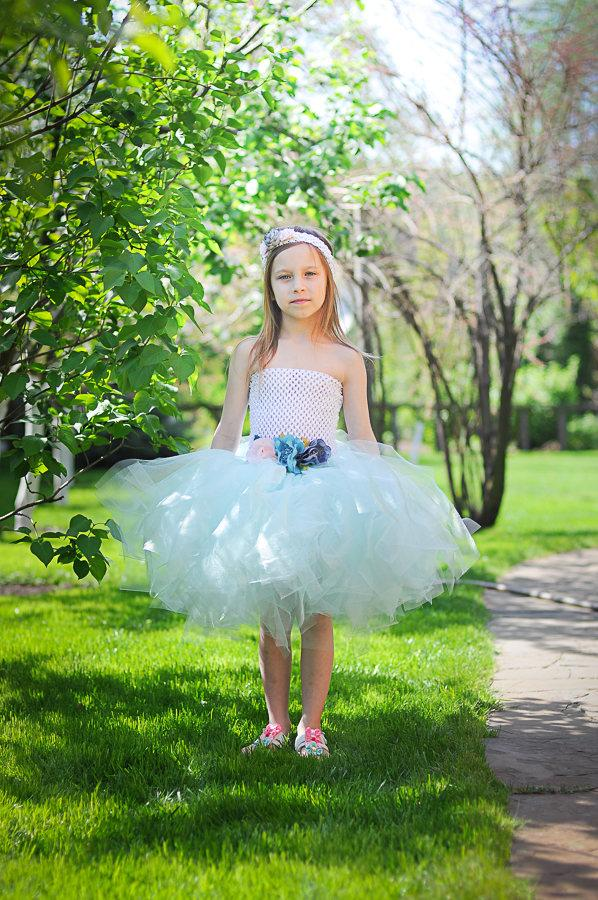 Wedding - mint tutu dress, mint girl dress, mint tutu girl dress, mint flower girl dress, wedding girl dress, party girl dress