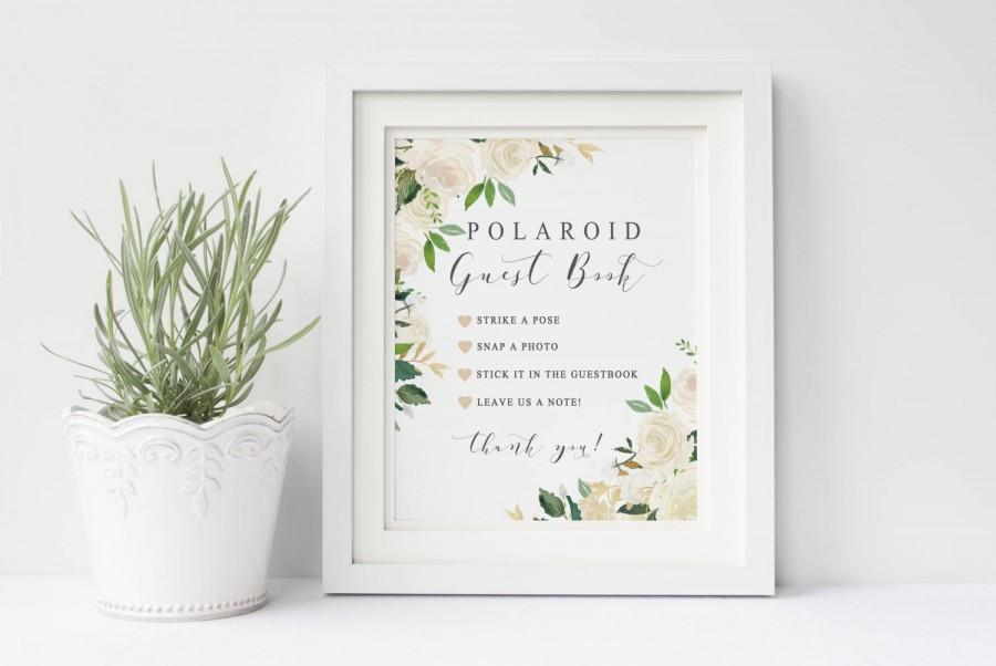Polaroid Guest Book Wedding Sign Printable Garden White