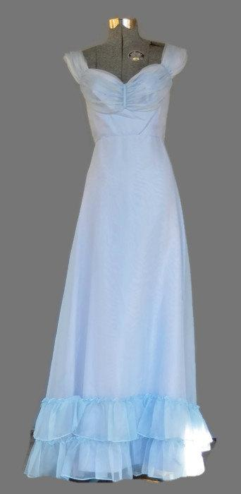 Mariage - 1970's Formal Dress. Vintage Empire Waist Lavender Blue Formal Bridesmaid Dress Size S . Deadstock Made in the USA