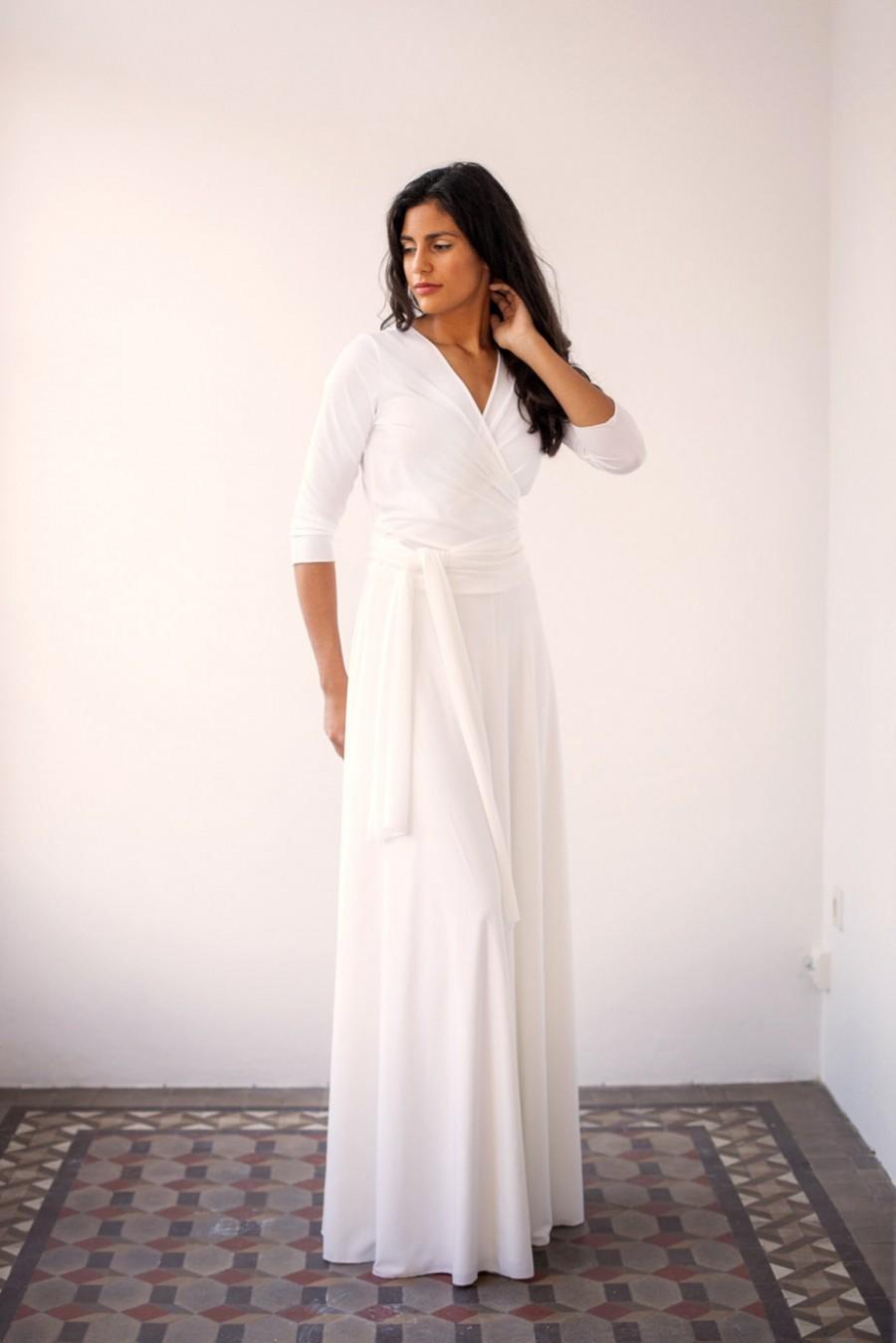 زفاف - Wedding wrap dress, wedding dress, long wrap dress, long white dress with sleeves, long sleeved wedding dress, white long sleeves wrap dress