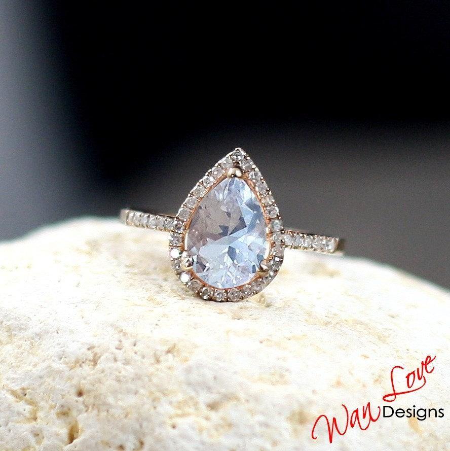 Mariage - Light Pale Pink Sapphire & Diamond Pear Halo Engagement Ring 2.5ct 10x7mm Custom Wedding Anniversary 14k 18k White Yellow Rose Gold Platinum