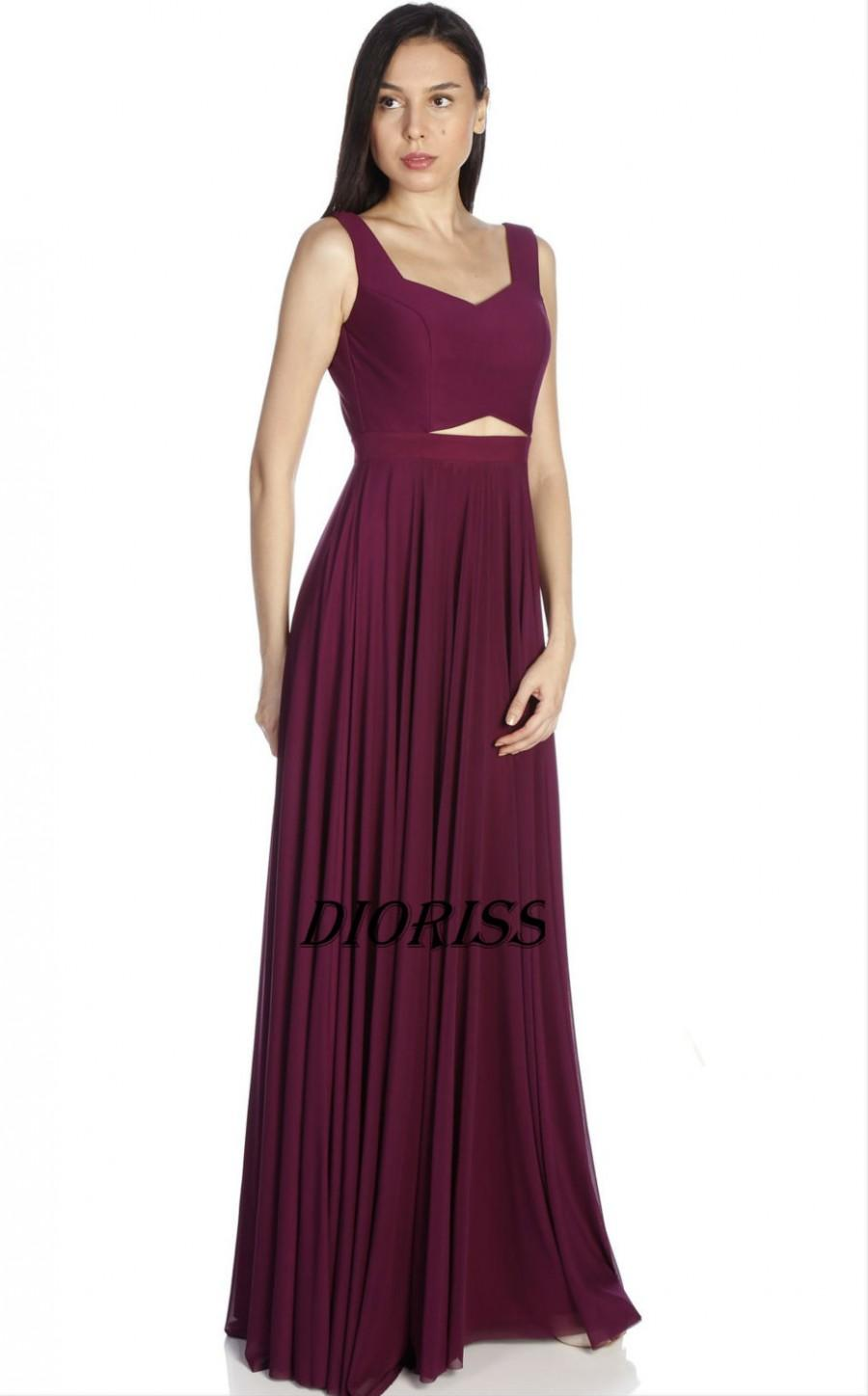 Mariage - Burgundy Bridesmaid Dress, Double Straps Long Prom Dress, Chiffon Evening Gown, Sweetheart Formal Dress Floor Length