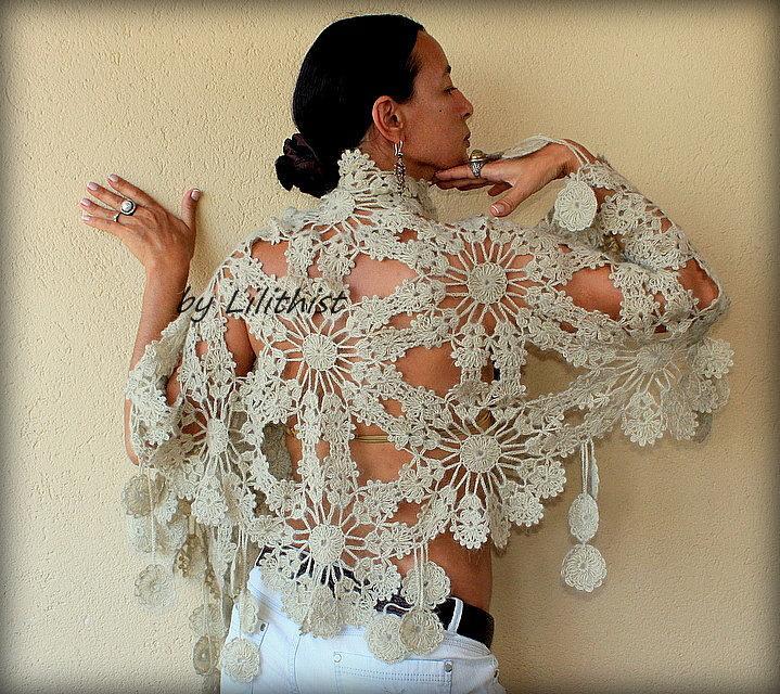 Mariage - Champagne Wedding Bridal Shawl Wrap  Crochet Shawl, Flowers Shawl, Wedding Wrap, Bridesmaid Lace Shawl, Bridal Cover Up, Wedding Shawl