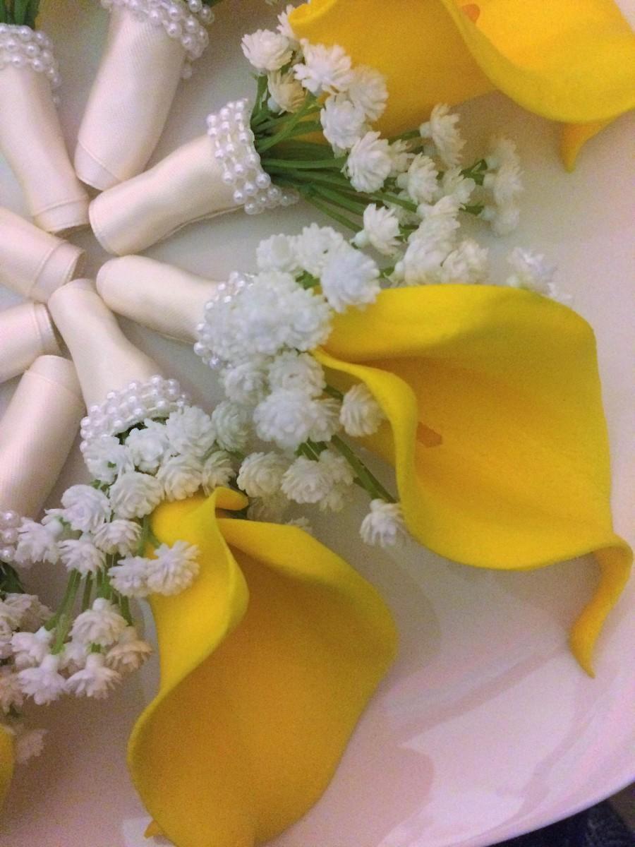 زفاف - Yellow Calla Lily Boutonniere, Yellow Wedding Boutonniere, Vintage Style Boutonniere, Yellow White Boutonniere, Yellow White Wedding, Prom