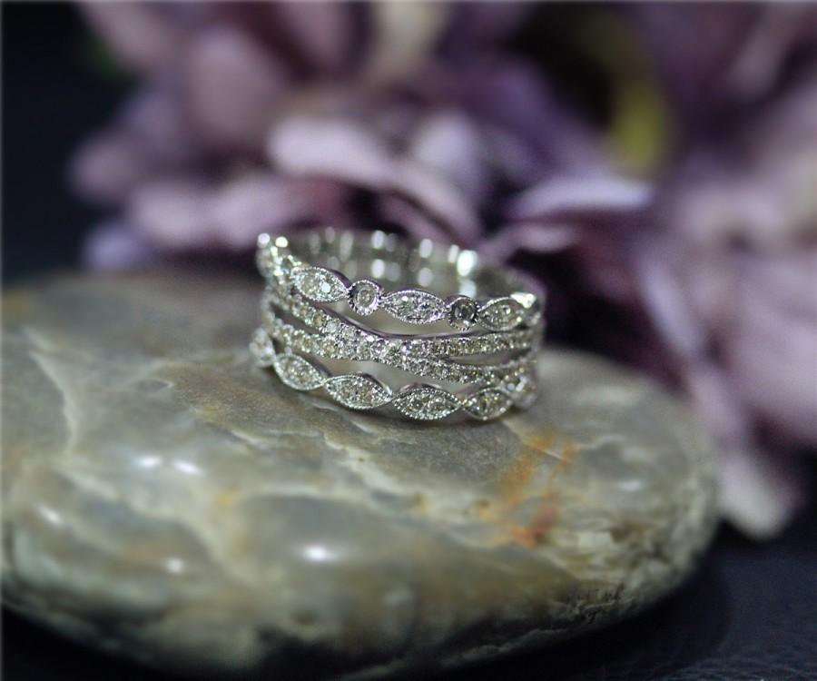 Wedding - 3 RINGS Diamonds Ring SET! Diamond Wedding Ring Set Solid 14K White Gold Ring Set Engagement Ring Set Matching Band Half Eternity Set