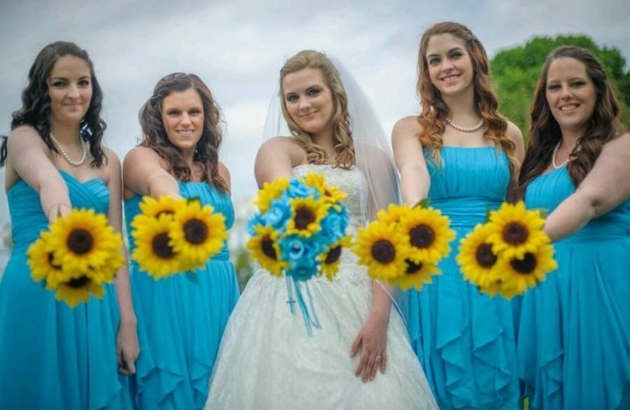 17 Piece Sunflower Malibu Blue Rose Bridal Bouquet Wedding Set ...