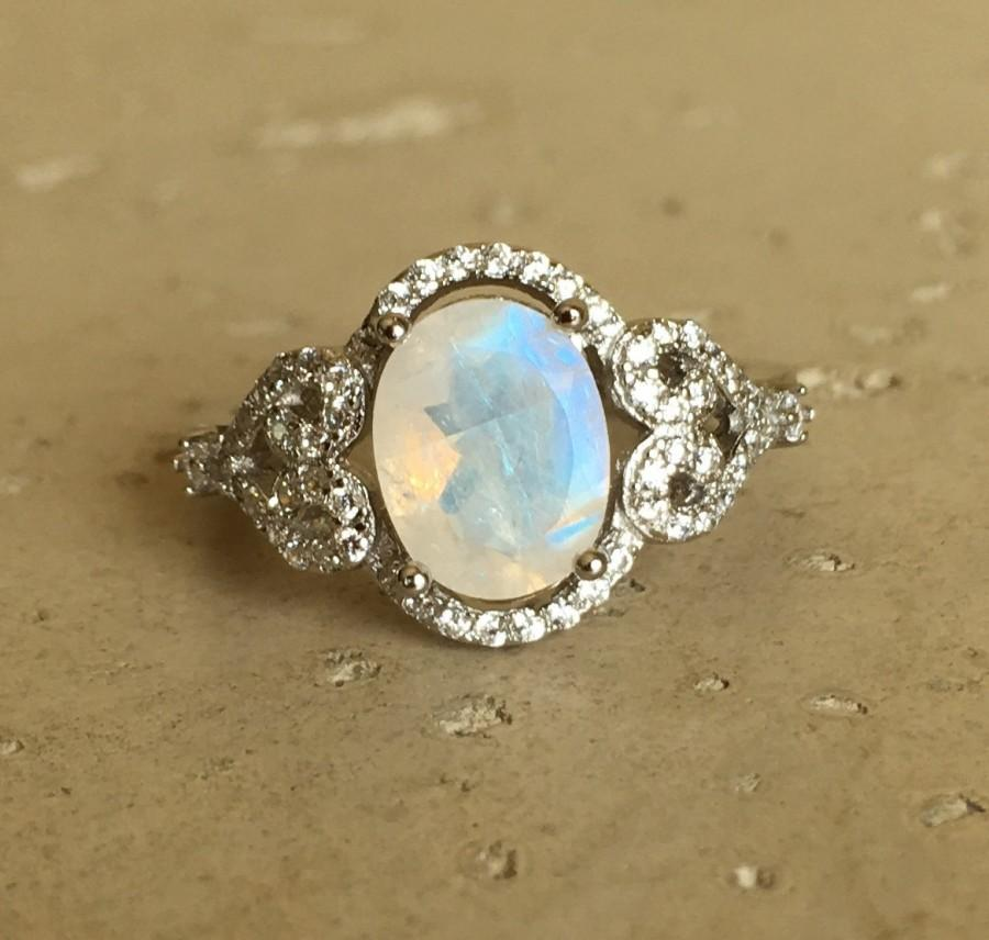 Oval Moonstone Engagement Ring- Halo Promise Ring- Wedding