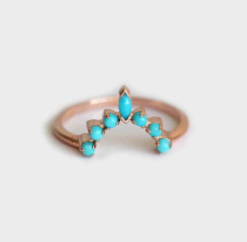 Wedding - Turquoise wedding Ring, Turquoise Wedding Band, Turquoise Curved Ring, Rose Gold turquoise ring