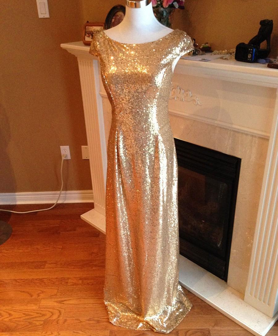 Mariage - Gold sequin bridesmaid dress, Prom dress 2016 - Cap sleeves sheath sequin dress