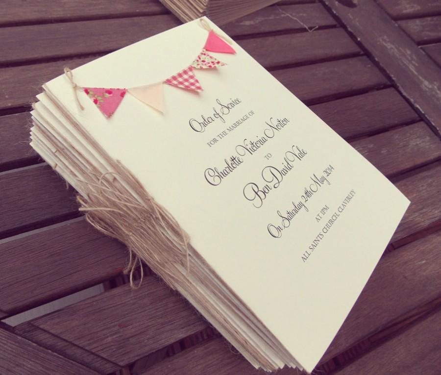 زفاف - Wedding Program / Wedding Programme / Order of Service Booklets with insert pages & bunting. Rustic wedding, Menu Cards